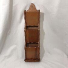 Vtg 3 Pockets Solid Wood Brown Wall Hanging Organizer/ Holder Letters Bills Misc
