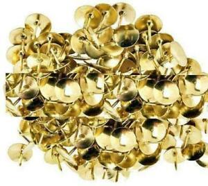 GOLD COLOUR BRASS HEAD PUSH CORK BOARD THUMB TACKS OFFICE DRAWING PINS new