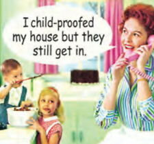 """""""I childproofed my home, but they still get in"""" Cork Backed Coasters Fast Ship"""