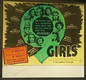 NINE GIRLS 1944 Comedy Mystery Film ANN HARDING Movie Glass Slide EVELYN KEYES 9