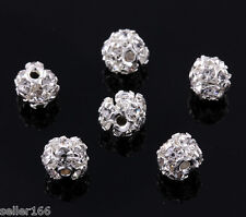 50 PCS 6MM Silver Plated inlaid Crystal Spacer Beads FUN Charms Jewelry Making