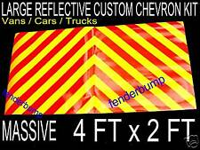 1pr MAGNETIC FULLY REFLECTIVE CHEVRONS RECOVERY TRUCK TRAILER SAFETY CAR SIGN