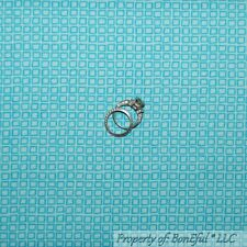 BonEful Fabric FQ Cotton Quilt Aqua Blue Block Square Check Gingham New Baby Boy