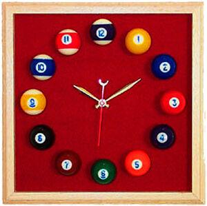 Billiard Wall Clock Square Oak Frame Burgundy Felt
