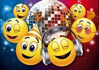 Lustiges Smiley-Einladungskarten-Set zum Kindergeburtstag oder zur Disko 4-25 St