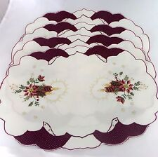 Set of 4 Embroidered Cut-work & Glitter Fabric Christmas Placemats Germany