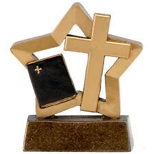 RELIGIOUS BIBLE & CROSS MINI STAR TROPHY RELIGION AWARD 8cm FREE ENGRAVING A1625