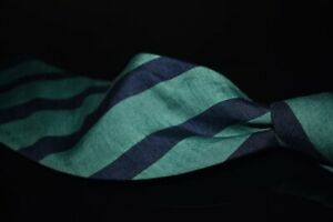 Lands End Made in Italy 100% Linen Green Navy Slubby Block Stripe Summer Tie NR