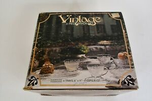 8 Pc. Anchor Hocking Vintage Clear Glass Snack Set W/4 Cups & 4 Trays & Box