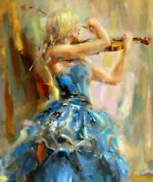 LMOP1181 handmade playing violin girl portrait art oil painting on canvas