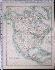 1904 LARGE MAP NORTH AMERICA DOMINION OF CANADA UNITED STATES MEXICO CUBA