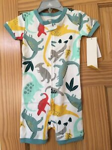 New Carter's Dinosaur Snug Fit Cotton Romper Pajama PJs Boy Sleep Wear 1 pc