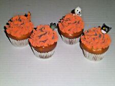 4 Faux CUPCAKES Fake Food HALLOWEEN Orange Icing sprinkle cat witch skeleton EUC
