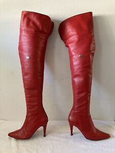 MENS 14 NEW FIRE ENGINE RED FERNANDO BERLIN CROTCH HIGH  BOOTS  EU 47