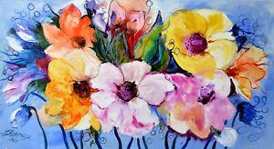 FLOWERS, modern art, Original BISSINGER