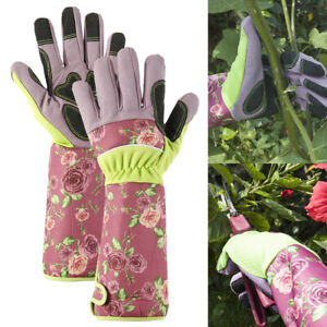 Clip Gloves Soft 100/% New Leather Pruning Gauntlets Fleece Lining Ladies Small