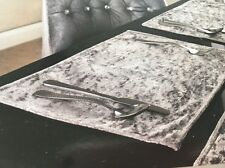 Set Of Four Silver Grey Crushed Velvet Placemats