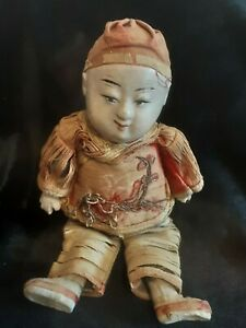 Antique Paper Mache Oriental Male Doll & Original Clothes approximately 7 inches