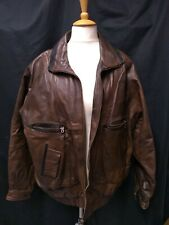 Mens Brown Leather Jacket - Vintage Retro 1980s Canada 46 Baseball Lining