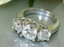 3.00 Ct Round Cut Garnet 14k White Gold Over Three Stone Ring