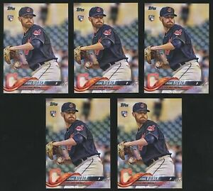 Lot (x5) 2018 Topps Update Series SHANE BIEBER Rookie RC #US198 Indians