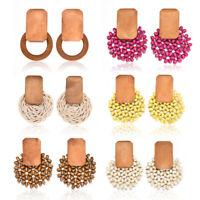 Women Boho Round Straw Rattan Woven Earrings Fashion Ear Stud Dangle Jewelry NEW