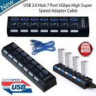 Latest 7 Port USB 3.0 Hub On / Off Switches AC Power Adapter Cable For PC Laptop