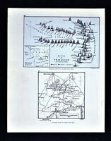 Battle of Trafalgar Coast of Spain Napoleonic Wars 1805 - Original Antique Map