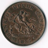 Province of Canada PC5D:  Upper Canada half penny  1857 - Red/Brown