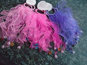 Pack 2 windmill hair scrunchies fabric elastic bobbles ribbon plastic jewels