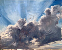 """Cloud Sky Landscape Abstract Oil Painting Original Signed 16""""x20"""" Canvas"""