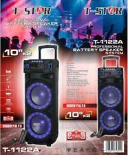 "T-STAR Dual 10"" DJ Party Bluetooth Speaker Portable System +2 Wireless Mic+TWS"