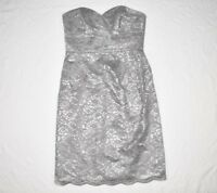 David's Bridal Dress 2 4 Strapless Lace Silver Gray Formal Cocktail Party