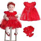 Girls Baby Infant Birthday Party Flower Tutu Dress +Headband Toddler Outfit Set