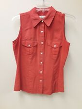Ann Taylor Size 6 Orange Sleeveless Blouse 100% Silk Button Front Pockets