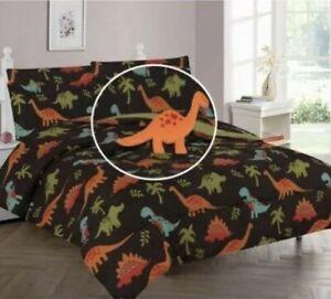 6pc Twin Comforter set Dinosaur Colo Jurassic land brown kids boy bedding sheet