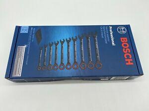 Bosch Professional 10-tlg. Maul- & Ringschlüsselsatz Ratschenfunktion mit Tasche