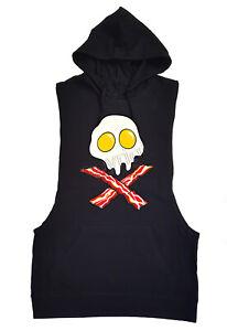 Men's Eggs & Bacon Black Tank Top Hoodie Funny Keto Breakfast Jolly Roger Skull