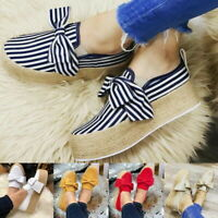 Women Wedge Platform Espadrilles Bow Pumps Slip On Comfy Loafers Shoes Casual
