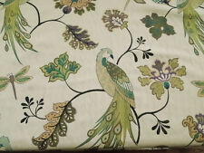 DESIGNER PEACOCK DRAGONFLY EMBROIDERED MATELASSE UPHOLSTERY FABRIC BTY 214FS