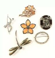 Gorgeous Silver Tone Lot of 6 Rhinestone Floral Bow Arrow Dragonfly Brooches