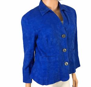 Jones Wear Vintage 80's Blazer Linen Cotton 10 P Petite Blue Jacket Lg Buttons