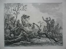 Carle VERNET Lithographie Horses English Accident Hunting 1820,
