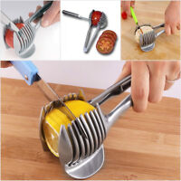 Stainless Steel Tomato Slicer Lemon Cutter Fruit Tongs Onion Slicer Handheld