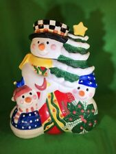 """Christmas Holiday Snowman Family Cookie Treat Jar 12"""" Tall Century Colorful"""