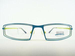 Blaue Brille Brillengestell Fassung mit flacher Glasform in fetziger Farbe Gr. S