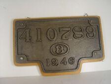 SNCB Waggonschild von 1946 - 19 x 30 cm  a. Brett - #142  #E - gebr.