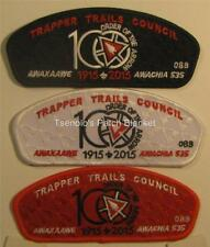 Trapper Trails Council 2015 TA-202,3,4 Red White Black bdr OA 100th Anni Mint