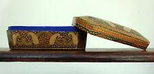 Antique Islamic Kashmiri Papier-mâché Box Hand Painted Gold Trinket Paisley