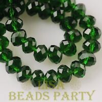 New 30pcs 8X6mm Rondelle Faceted Loose Spacer Glass Beads Bulk Deep Green